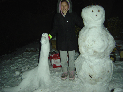 Snow Giraffe and Snow Man and Genevieve