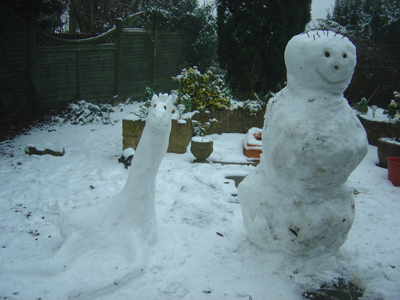 Snow Giraffe and Snow Man